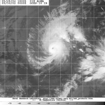 Figure 2 - GOES-10 infrared image of Hurricane Alma