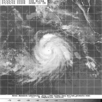 Figure 3 - GOES-10 infrared image of Hurricane Elida