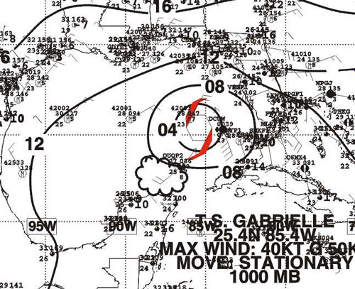Figure 3 - Surface Pressure Analysis for T.S. Gabrielle - Click to enlarge