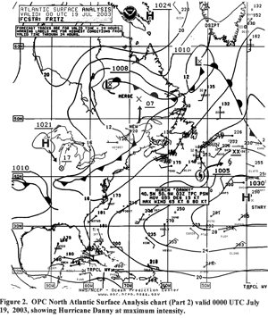 Figure 2 - North Atlantic Surface Analysis Chart -  Click to Enlarge