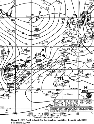 Figure 3 - North Atlantic Surface Analysis Chart -  Click to Enlarge