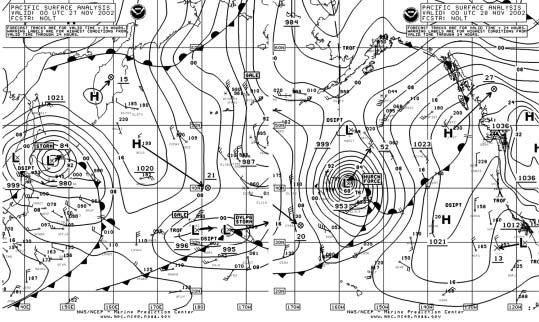 Figure 3 - North Pacific Surface Analysis  Chart